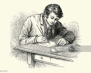 Vintage engraving of a Young victorian man writing a letter
